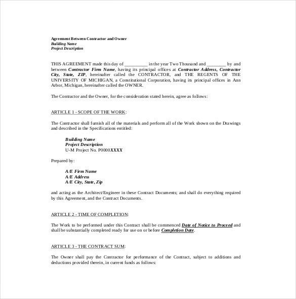 Construction Contract Format Construction Contract Template - payment agreement contract