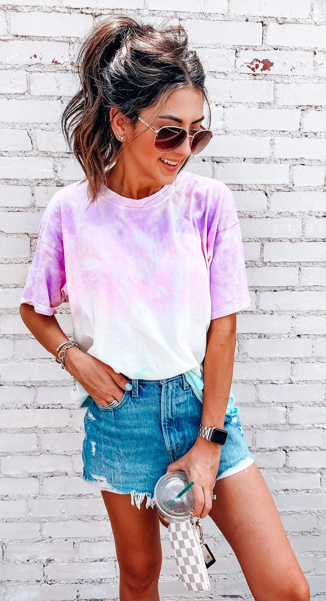 pink tie-dye shirt #summer #outfits