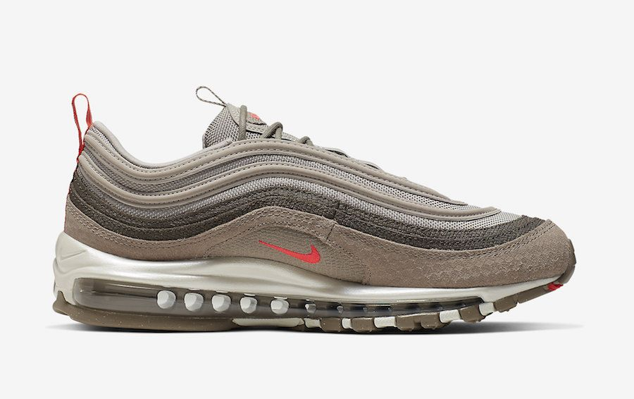 Men's Nike Air Max 97 Premium Sneakers Moon Particle/Bright Crimson-Sepia Stone 312834-205 Wholesale Free Shipping! #max97sneakers