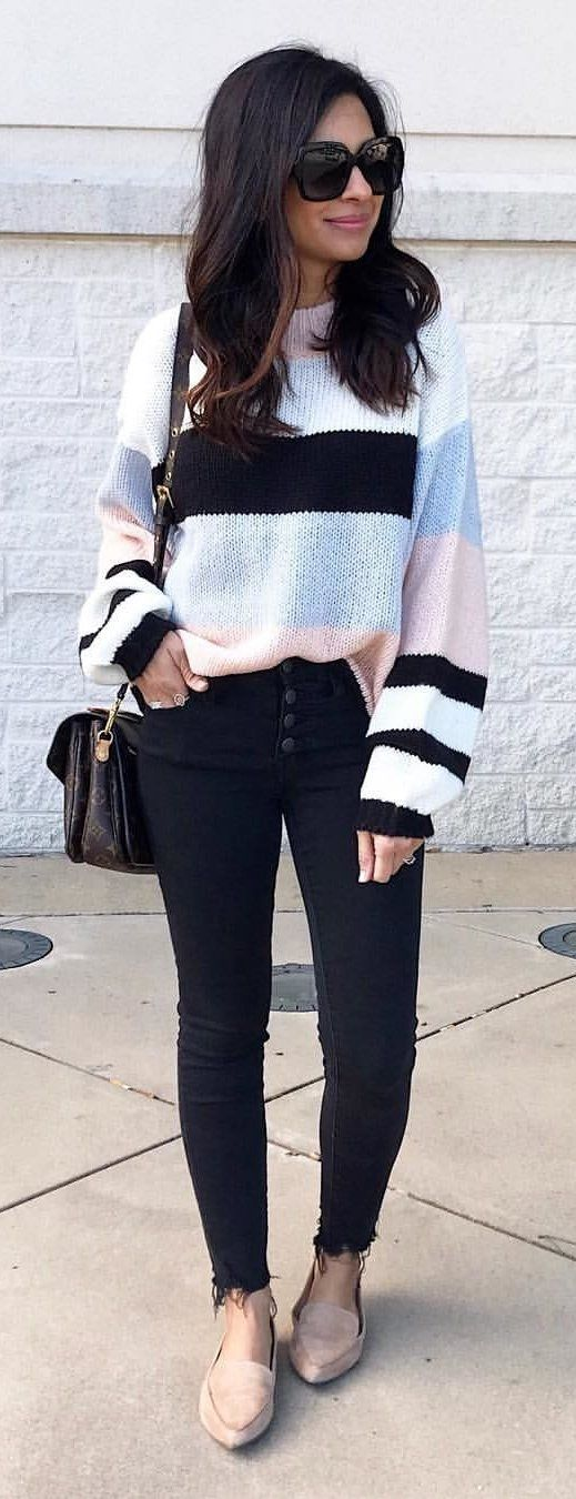black and white long sleeve dress #winter #outfits