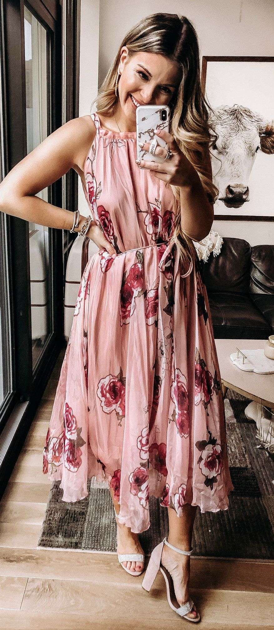 pink floral sleeveless dress #spring #outfits