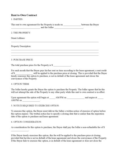 Rent To Own Document Free Download Rent To Own Contract - rent to own home contract