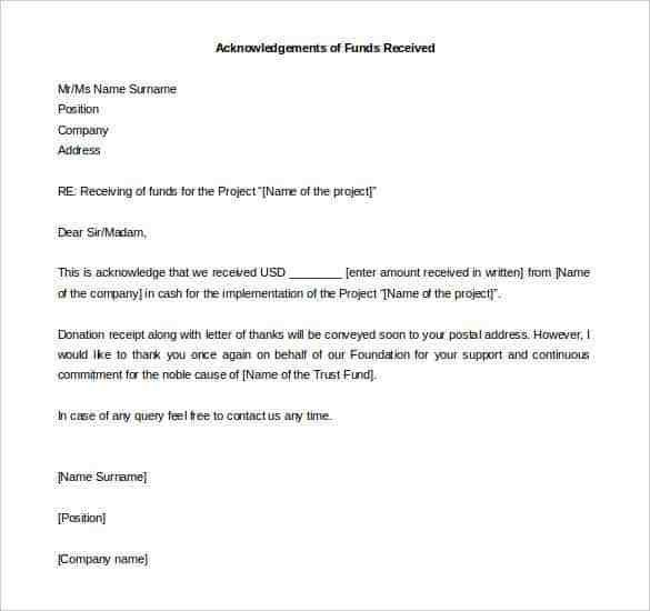 Receipt Letter For Money Received Acknowledgement Letter For - donation receipt letter