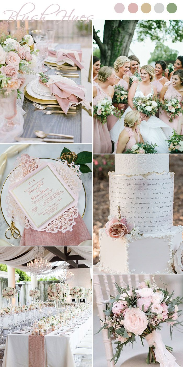 elegant blush pink and greenery spring wedding ideas