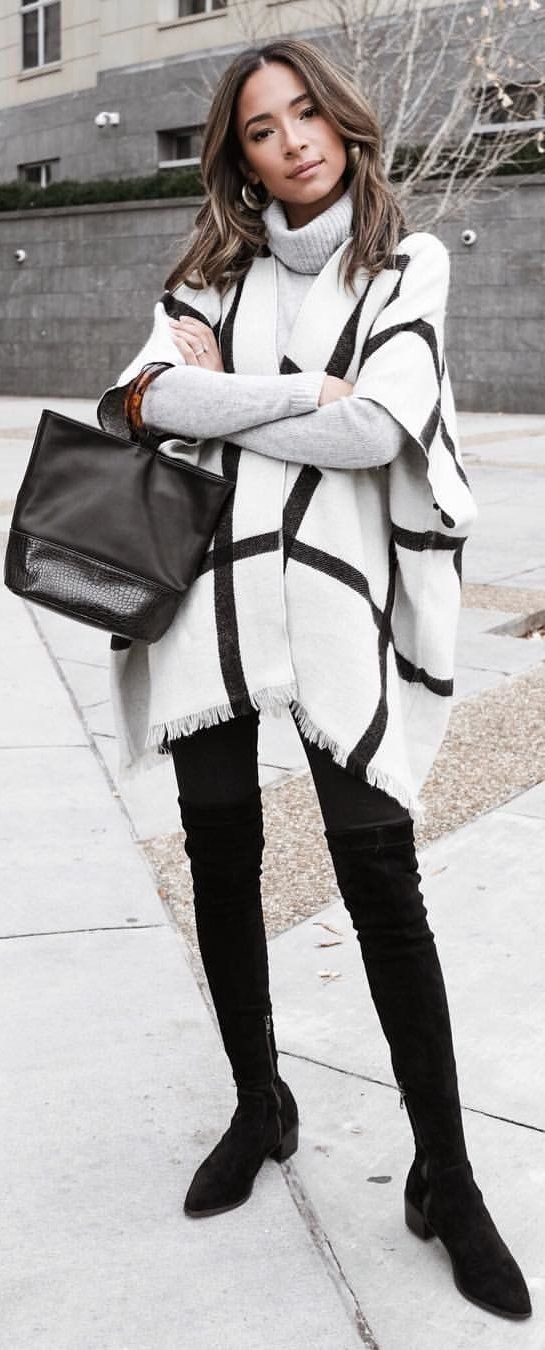 white and black turtle-neck poncho