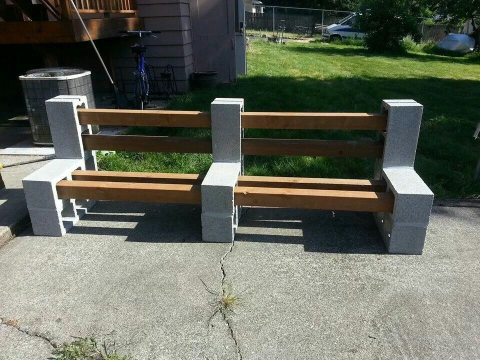 Furniture L Shaped Cream Cinder Block Bench With Soft