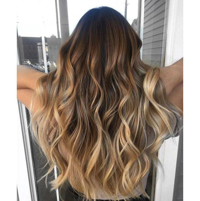 Moresoo 50g Balayage Color Body Wave Seamless Human Hair Brazilian Hair Tape On Hair Extensions Brown #3 Fading To Light Brown #8 Highlighted With Blonde #22(BW 3/8/22)