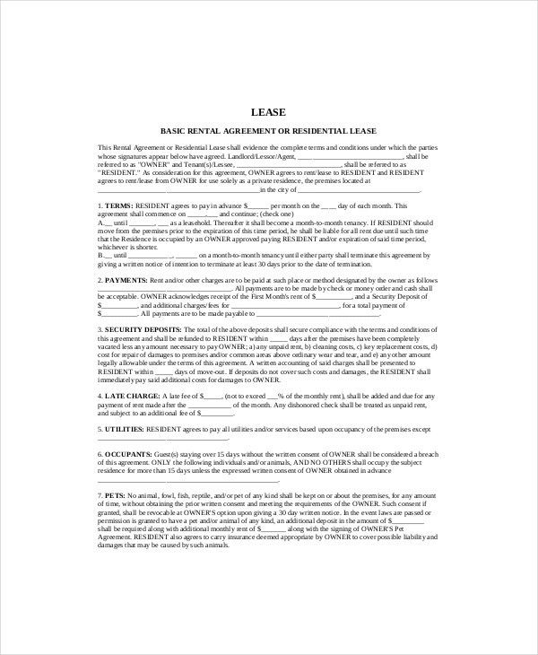 Residential Lease Template Free Free Residential Lease Template - lease template word
