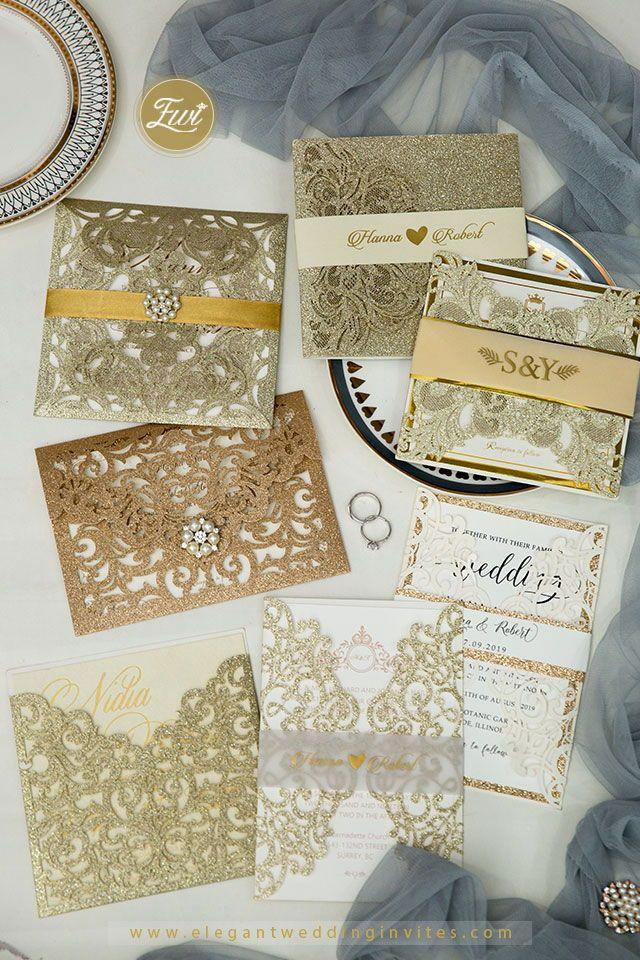 Elegant Glitter laser cut wedding invitation ideas for Fall and Winter Weddings | Use code 'ENJOY20' for 20% off now!