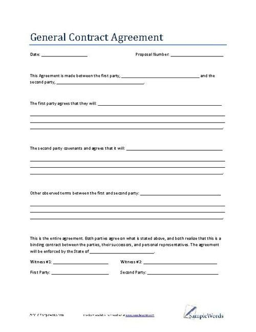General Contract Agreement Template   Business Contract  Business Contract Between Two Parties