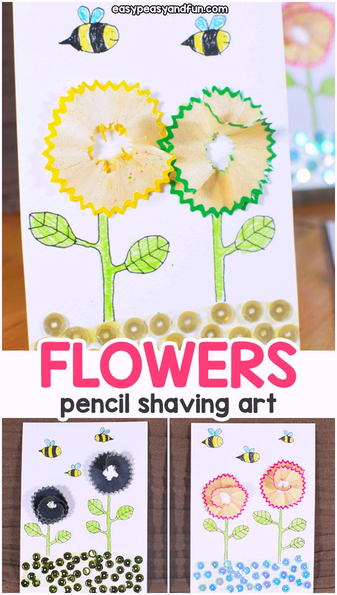 Flowers Pencil Shaving Art - Easy Peasy and Fun