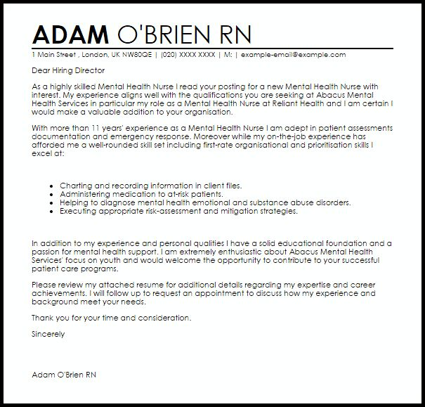 mental health worker cover letter