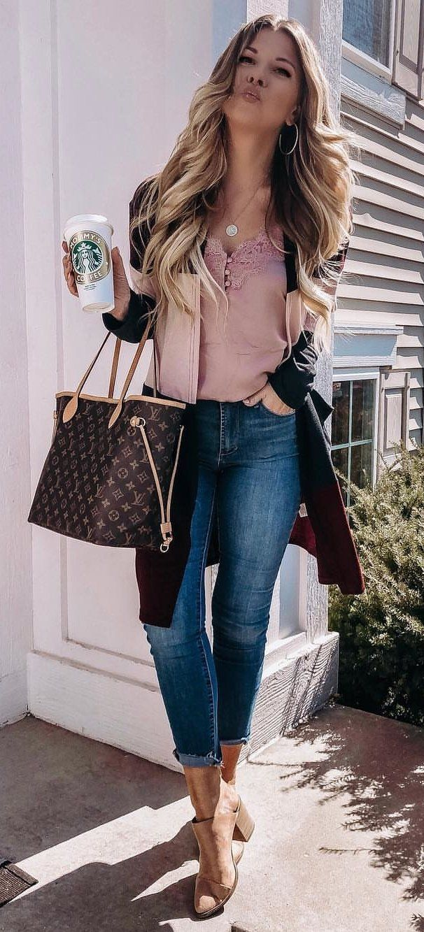 pink top #spring #outfits