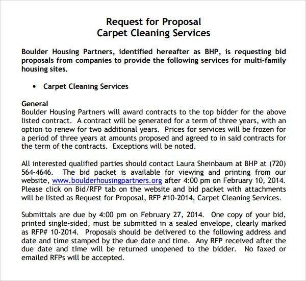 Carpet Cleaning Proposal Sample Www Allaboutyouth Net  Bid Proposal Sample