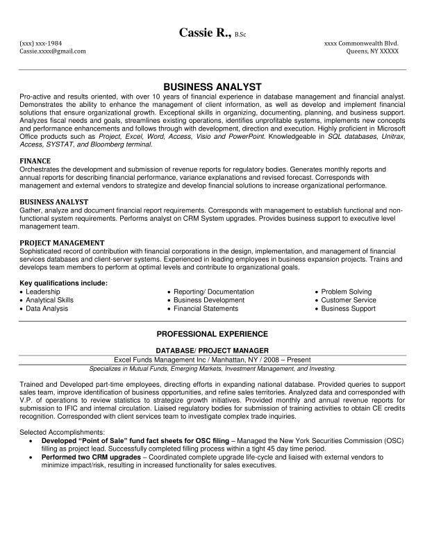 Business Analyst Resume Business Analyst Resume Sample Writing