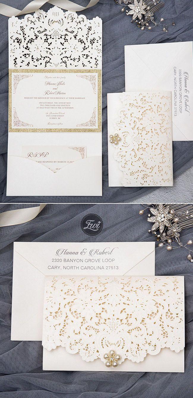 elegant and formal ivory laser cut wedding inviations