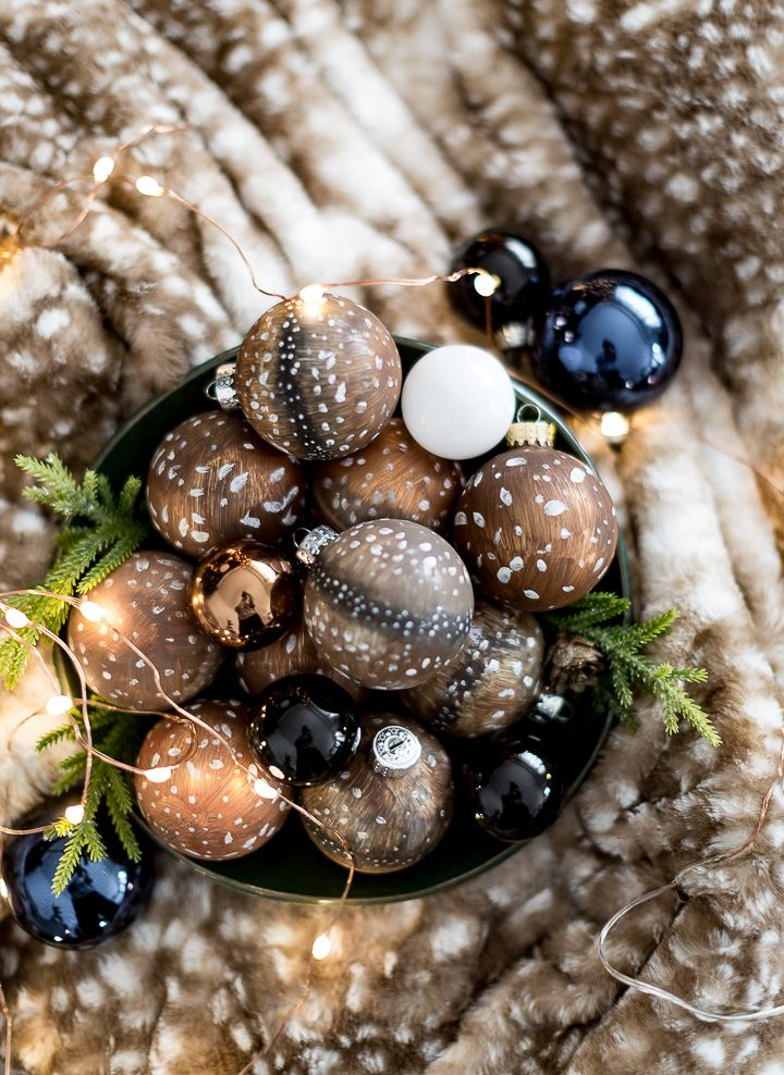 Painted Deer Fur Christmas Ornaments