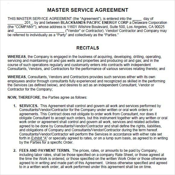Sample Master Service Agreement confidentiality clause contract - sample vendor contract