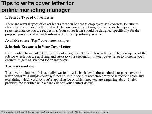 Online Marketing Manager Cover Letter Online Marketing Manager