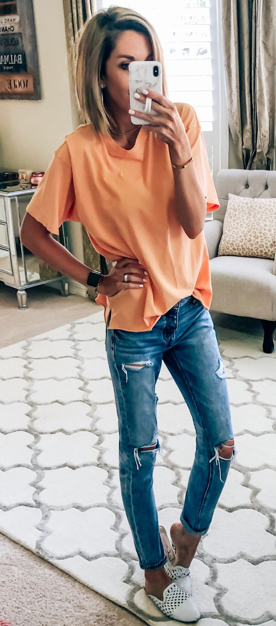 orange t-shirt and distressed blue denim jeans #summer #outfits