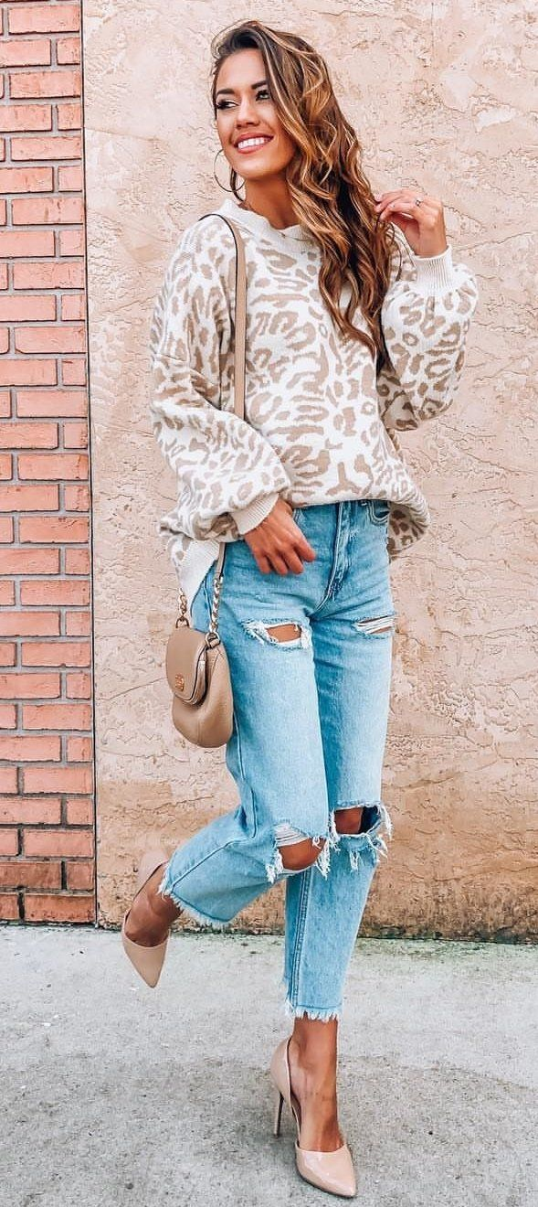 brown and white leopard jacket #spring #outfits