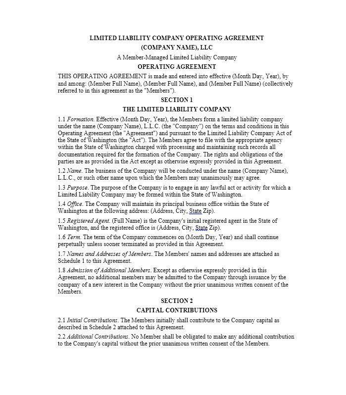 Sample Llc Agreement Llc Operating Agreement Sample Template, Llc - agreement templates