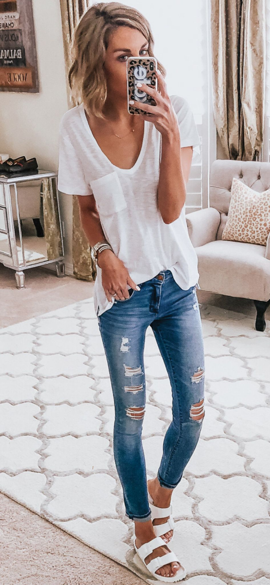 white blouse and blue denim distress jeand #spring #outfits