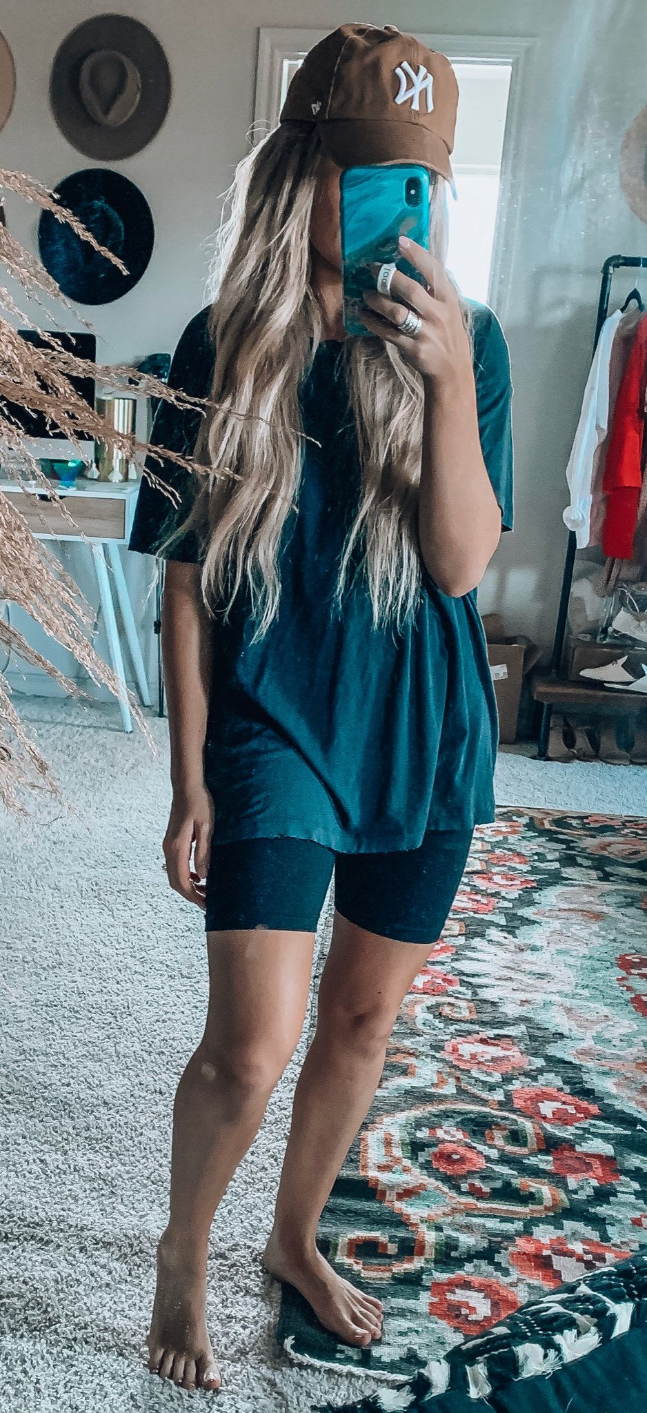blue cap-sleeved shirt and short shorts #summer #outfits