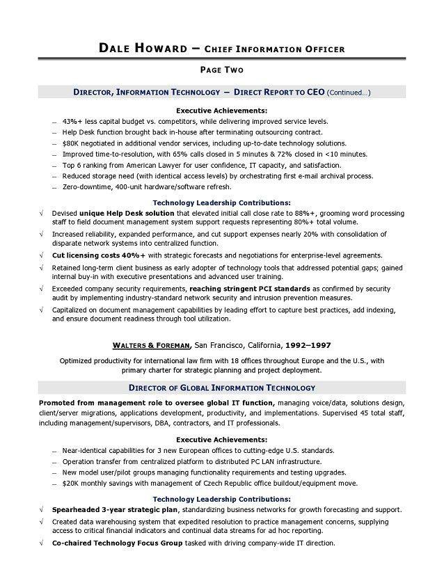 Cio Resume Example Cio Sample Resume Chief Information Officer - director of it resume