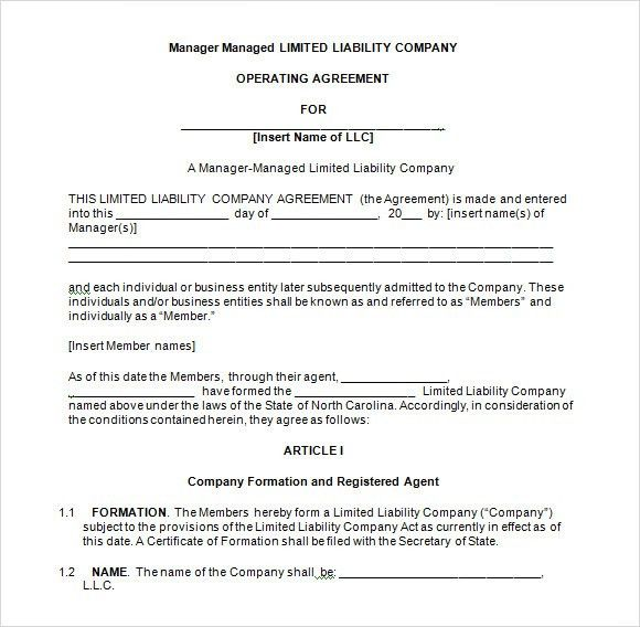 Basic Operating Agreement Llc Operating Agreement Sample Template - business operating agreement