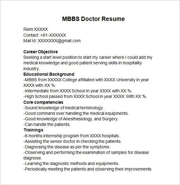 Doctor resume template 16 free word excel pdf format download - doctor resume