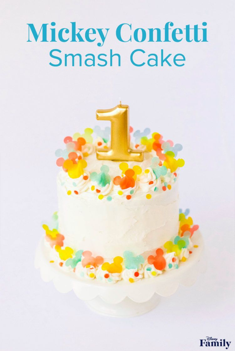 Oh boy, it's birthday time! Disney-fy your little one's birthday cake with this colorful and totally edible confetti recipe! Just think of how adorable your tyke will look on their first birthday enjoying a Mickey Confetti Cake (no silverware needed!). It's the cutest smash cake around. Click for the Mickey cake recipe.