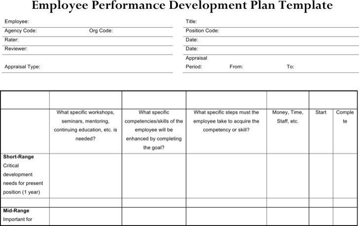 Employee Development Plan Template Free Employee Development Plan - development plan templates