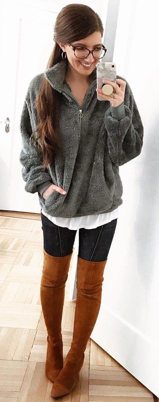 gray fur jacket