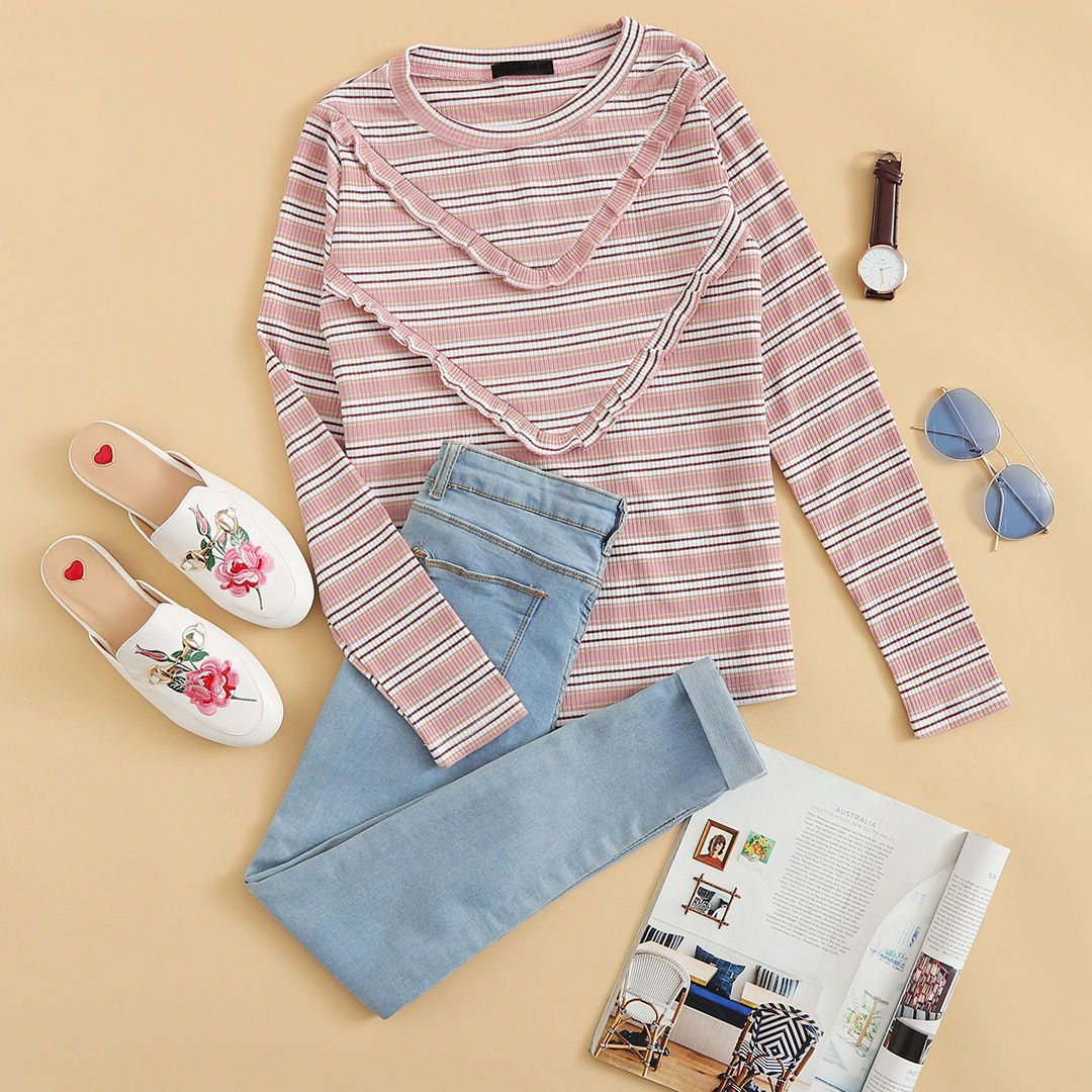 Frill Trim Striped Ribbed Tee
