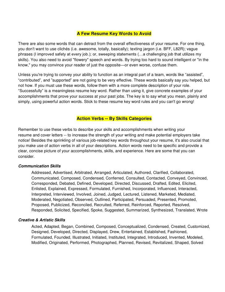 Sales Resume Words Action Words For Successful Sales Resumes - best resume words