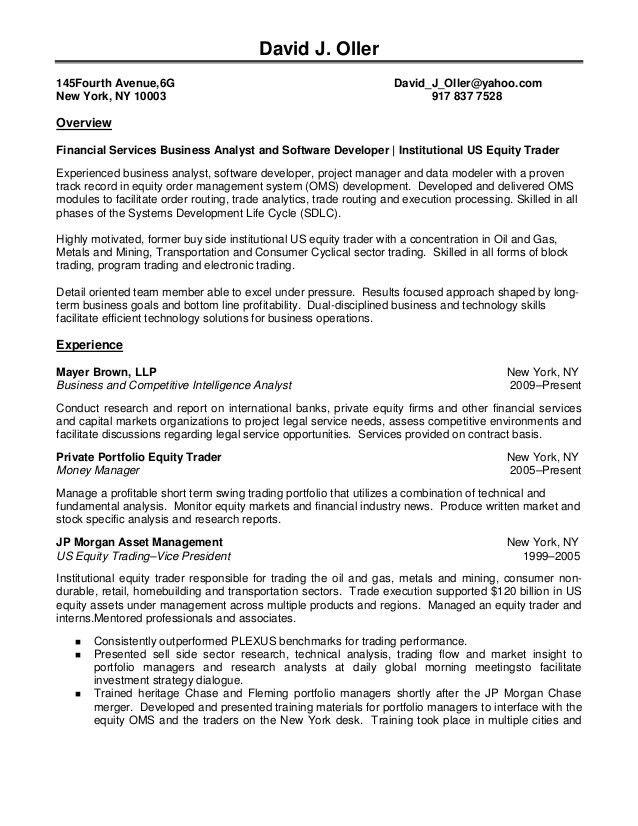 Hedge Fund Trader Cover Letter | Andrian James Blog
