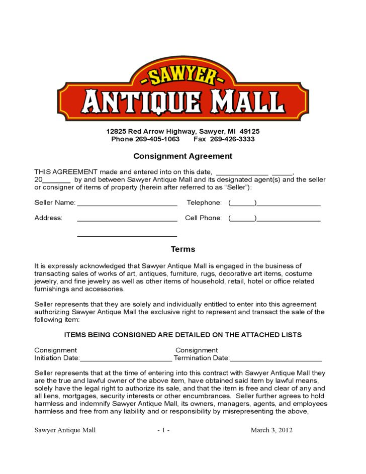 Blank Consignment Contract Template Free Download  Free Consignment Contract Template