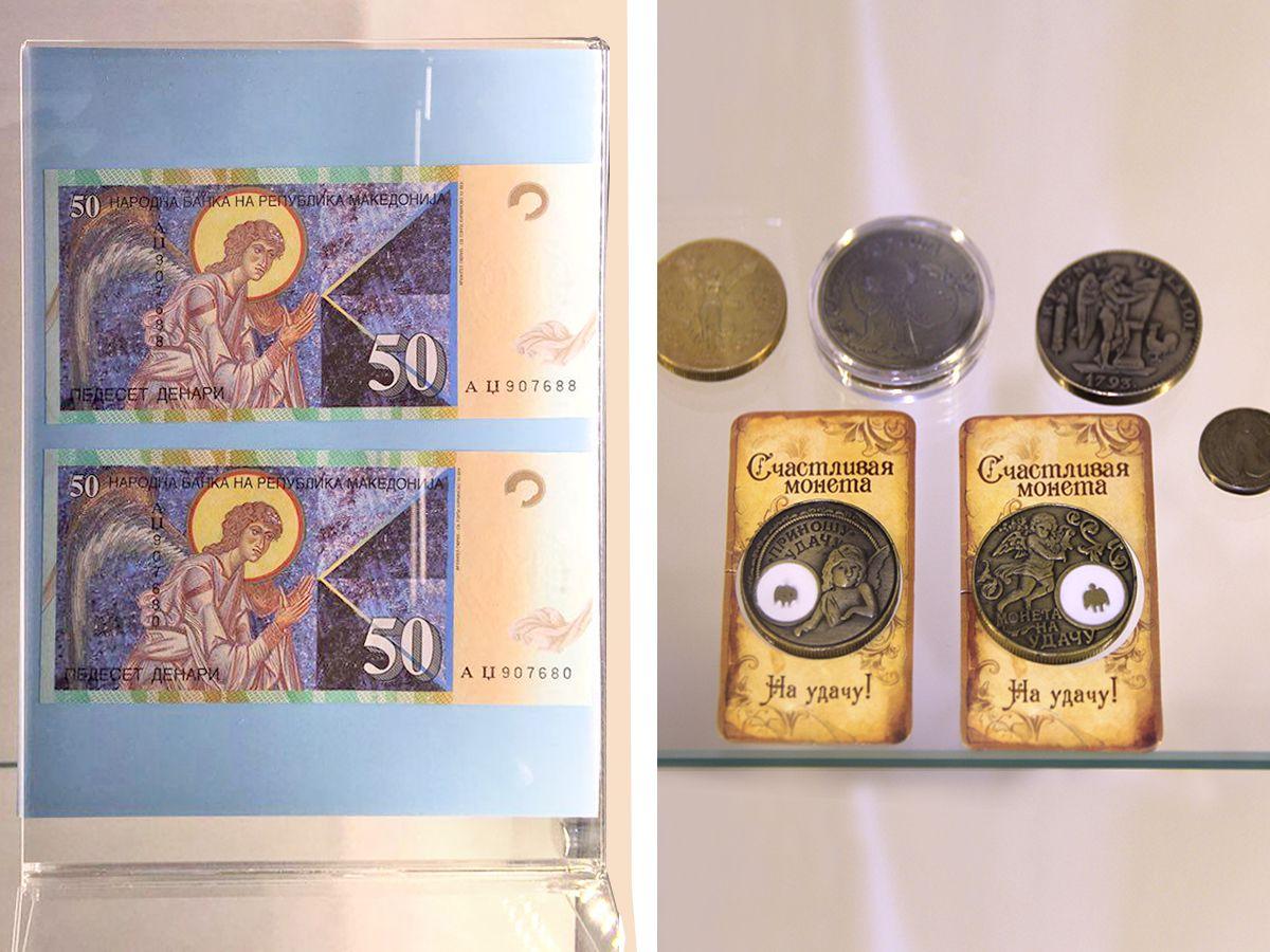 """Изображение ангелов на купюрах и монетах в музее """"Домик ангелов"""". Фото: Vladimir Shveda"""