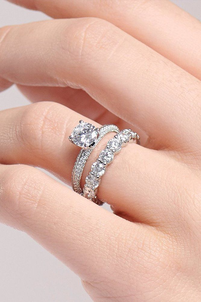 39 Top Round Engagement Rings: Best Ideas ❤ round engagement rings wedding set diamond band white gold #weddingforward #wedding #bride