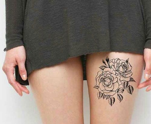 Cute Outline Rose Thigh Tattoo – Gorgeous Sexy Thigh Tattoos. #thightattoo #tattoosforwomen #thightattooideas #tattooideas #tattoodesigns #rosetattooideas #flowertattoodesigns