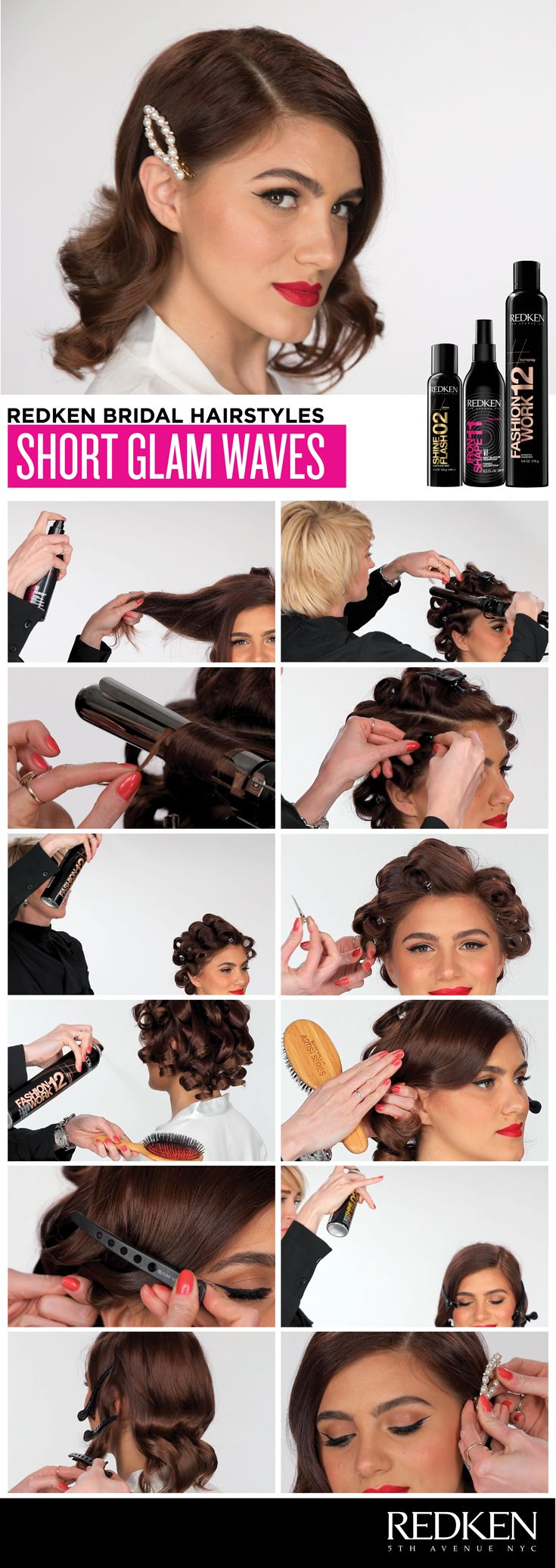 Looking for hair inspo for your big day? Look no further. Click to watch as Redken Artist Jackie Litscher demonstrates how to create hollywood-inspired glam waves on short hair using Redken Shine Flash 02, Fashion Work 12, and Iron Shape 11.