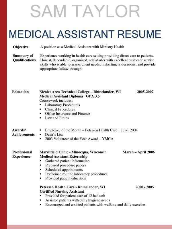 Medical Assistant Resumes Templates 16 Free Medical Assistant - medical assistant resume template free