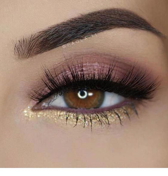 Pink makeup and gold detail