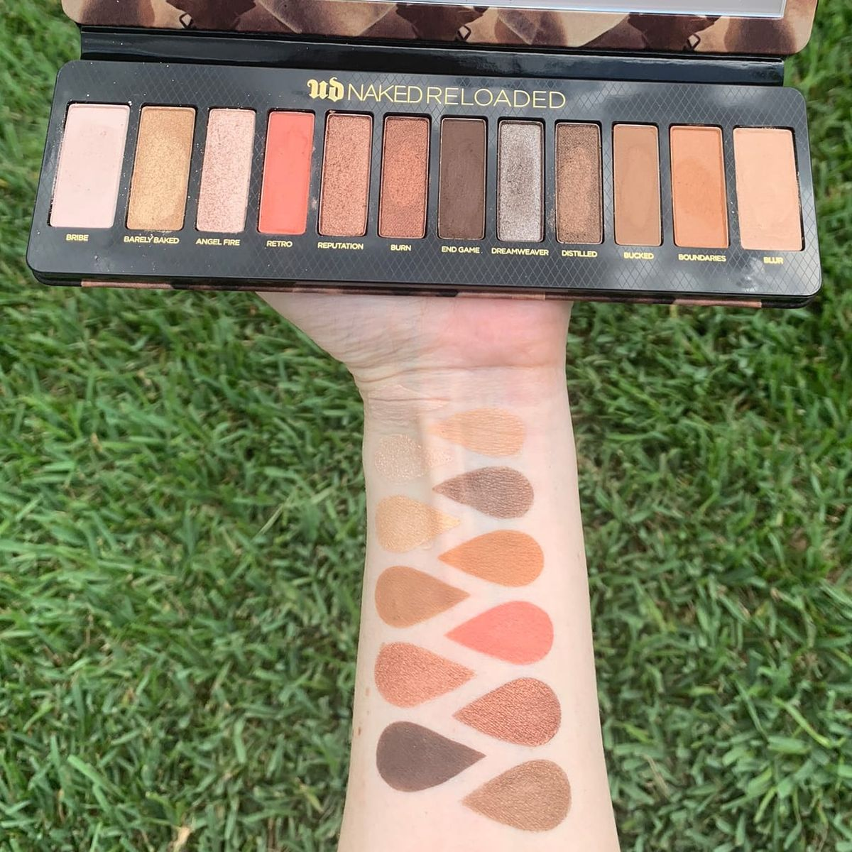 Urban Decay Naked Reloaded Palette Swatched on Pale Skin