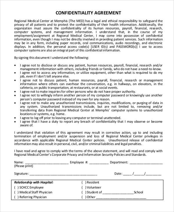 Confidentiality Agreement Template Word Confidentiality Agreement - sample employee confidentiality agreement