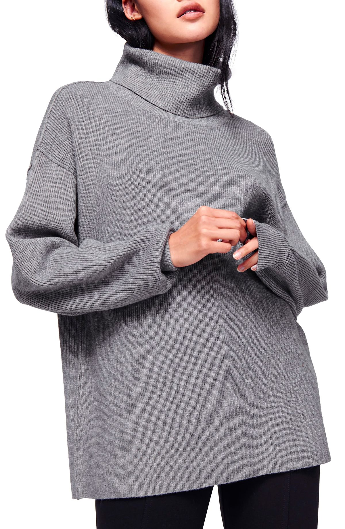 free people grey Softly Structured Knit Tunic turtleneck