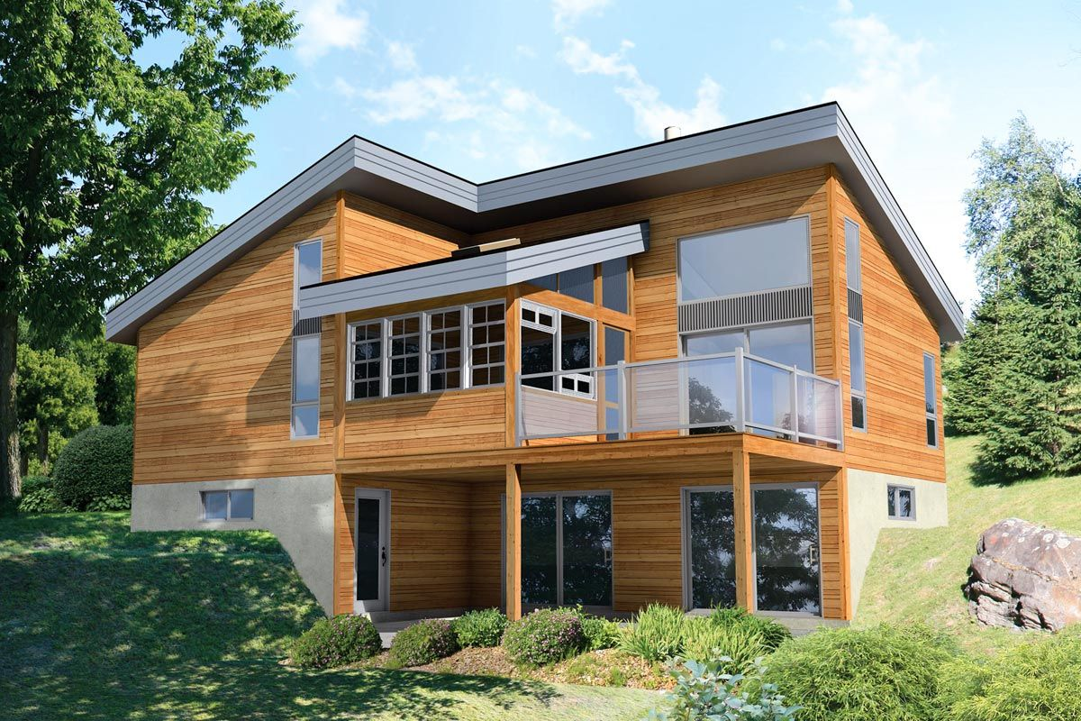 Modern 2-Bed Getaway Cottage Plan with Large Picture Windows - 80955PM | Architectural Designs - House Plans