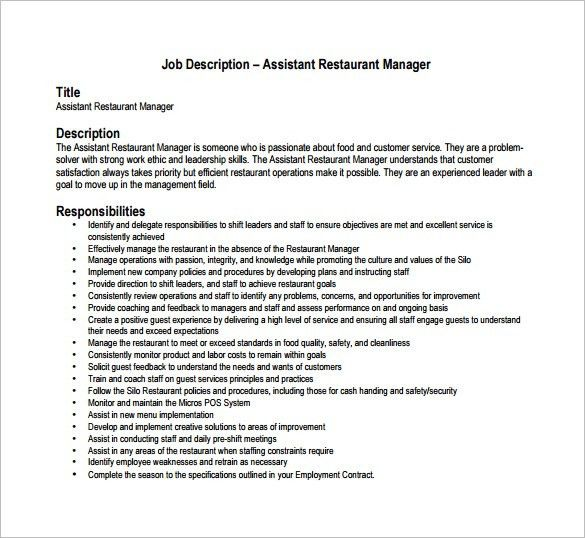Assistant Restaurant Manager Job Description Restaurant Manager - job description templates