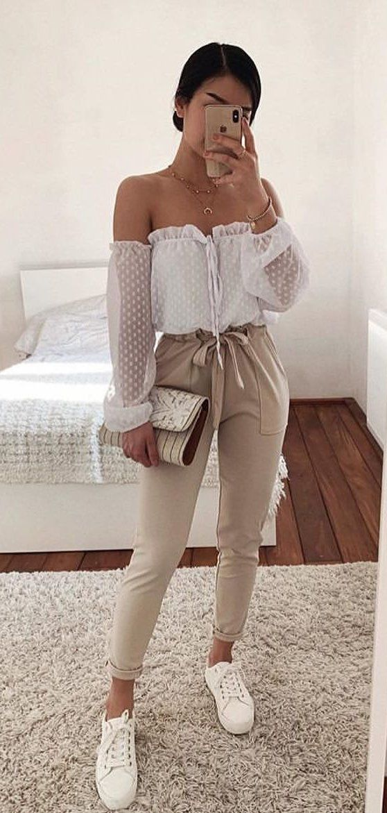 white polka-dot off-shoulder long-sleeved blouse #spring #outfits